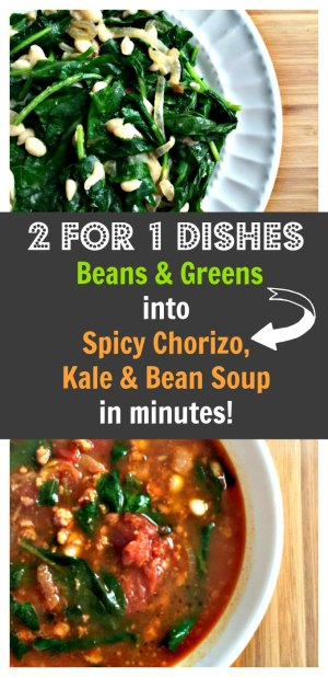 spicy chorizo, kale and bean soup