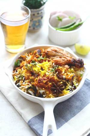 chicken biryani made with leftover chicken