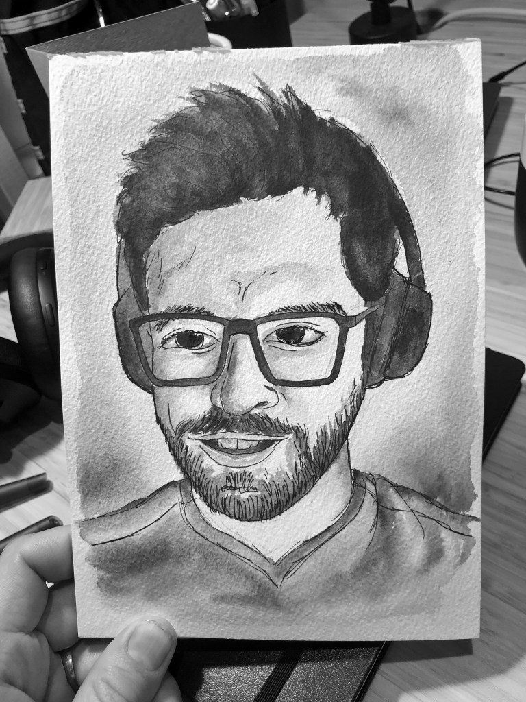 Portrait of man with glasses and headphones. Illustration.