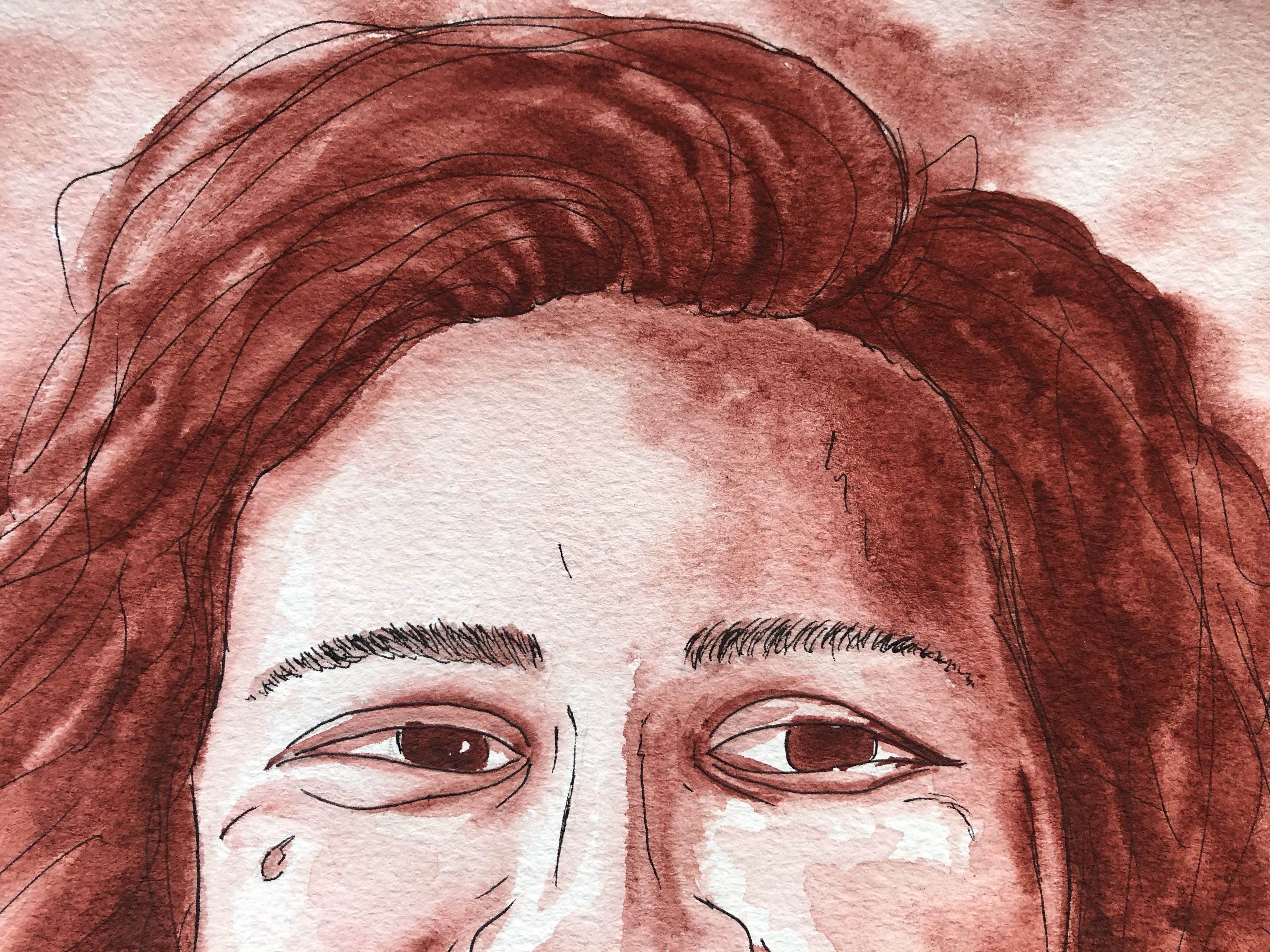 Close-up of eyes on a watercolor portrait of a woman smiling.