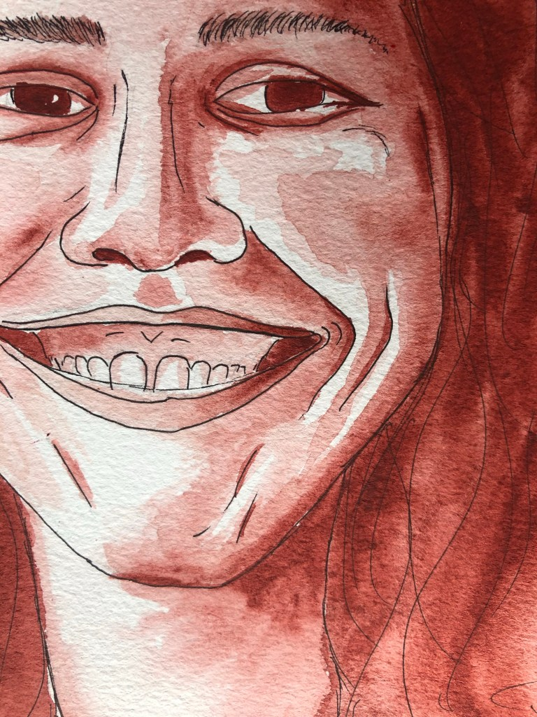Close-up of mouth on a watercolor portrait of a woman smiling.