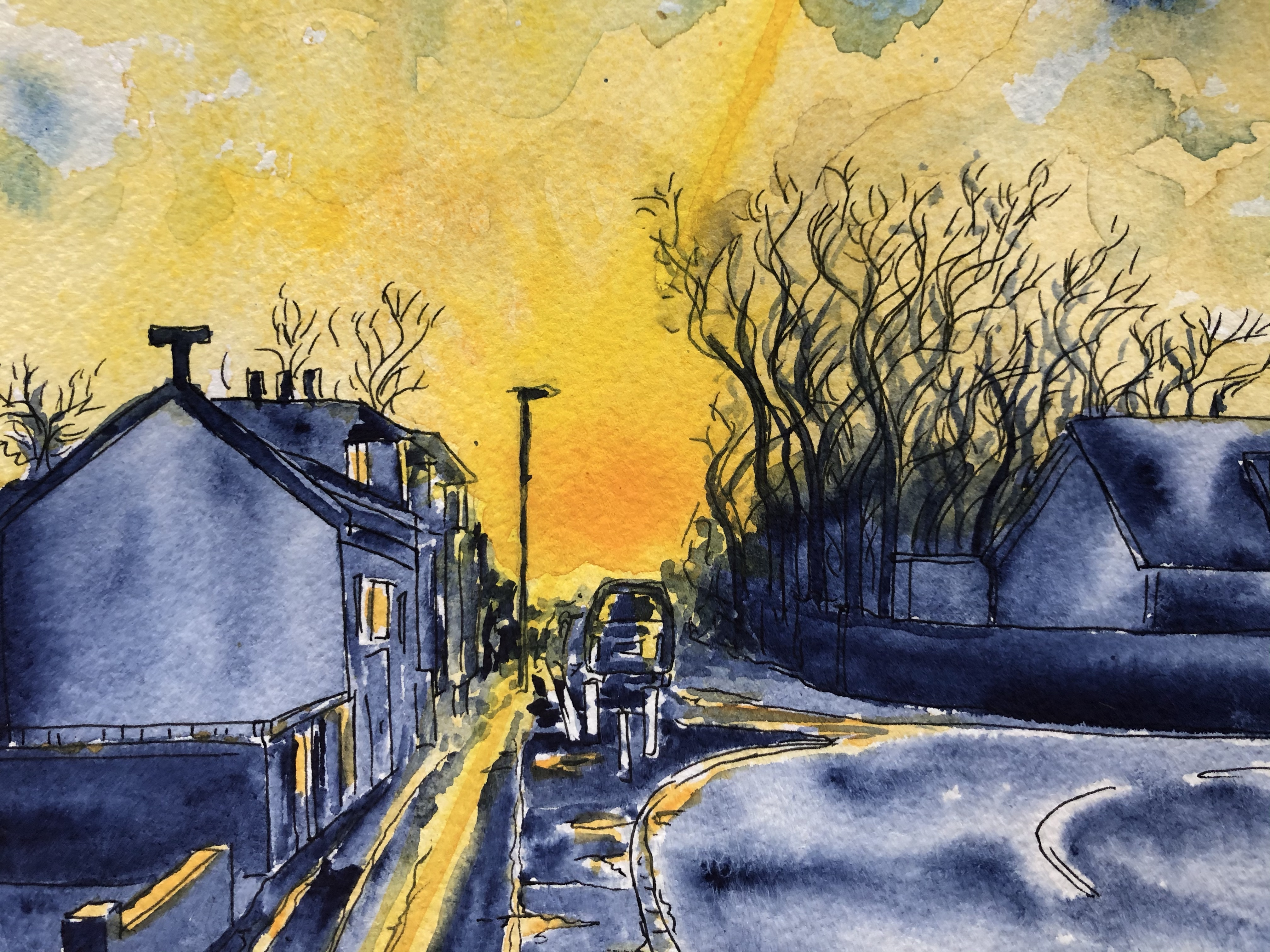 Close-up of watercolor painting of Main St Chryston in blue and yellow.