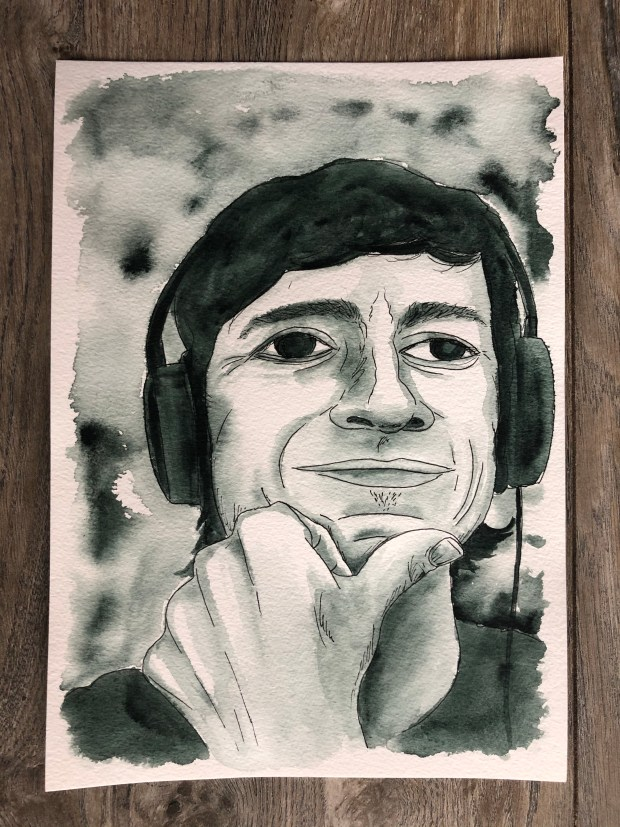 Portrait painting of a guy with his hand on his chin and headphones on.