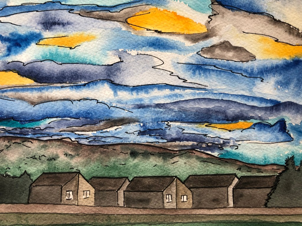 Close up of watercolor painting of the morning sky in blue and yellow.
