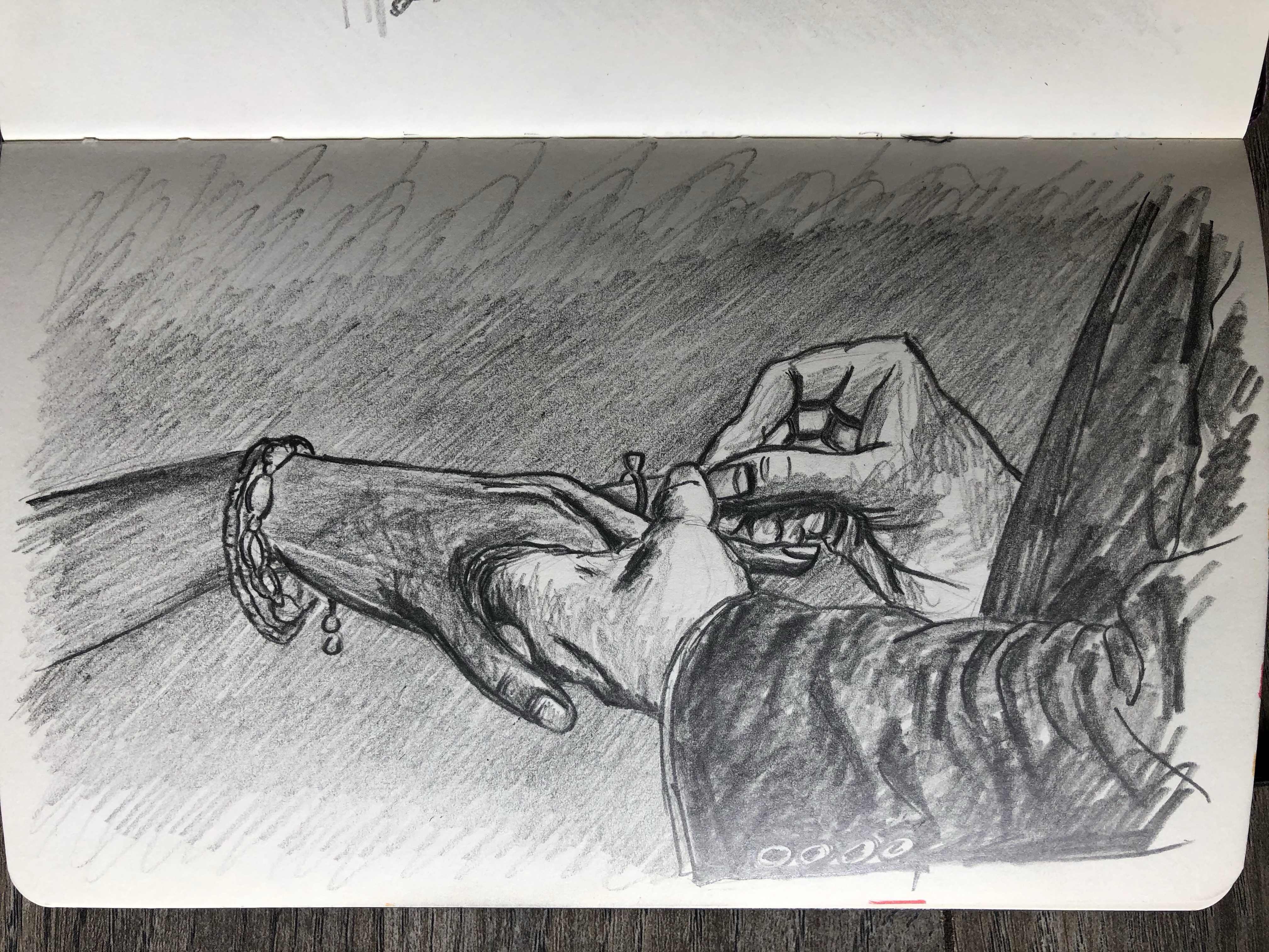Drawing of hand putting ring on finger of another.