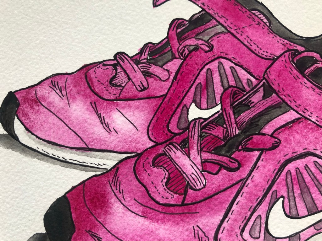 Close up of watercolor illustration of kids Nike shoes.