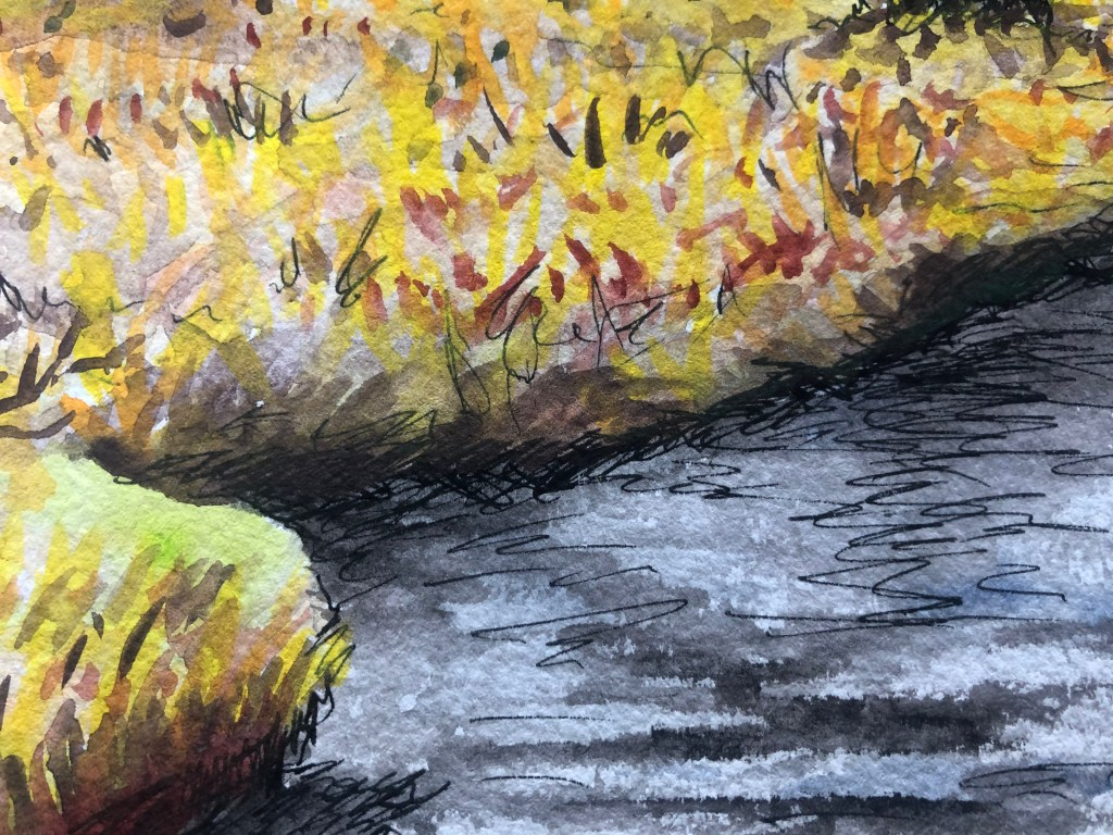 Close-up of watercolor painting of a yellow field and stream.