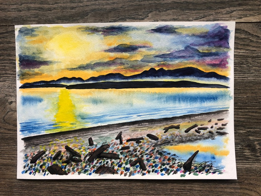 Watercolor painting of sunset on Whidbey Island beach with the San Juan islands in the distance.