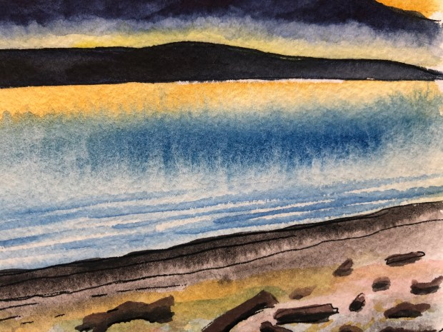 Close-up of watercolor painting of beach and the San Juan islands in the distance.