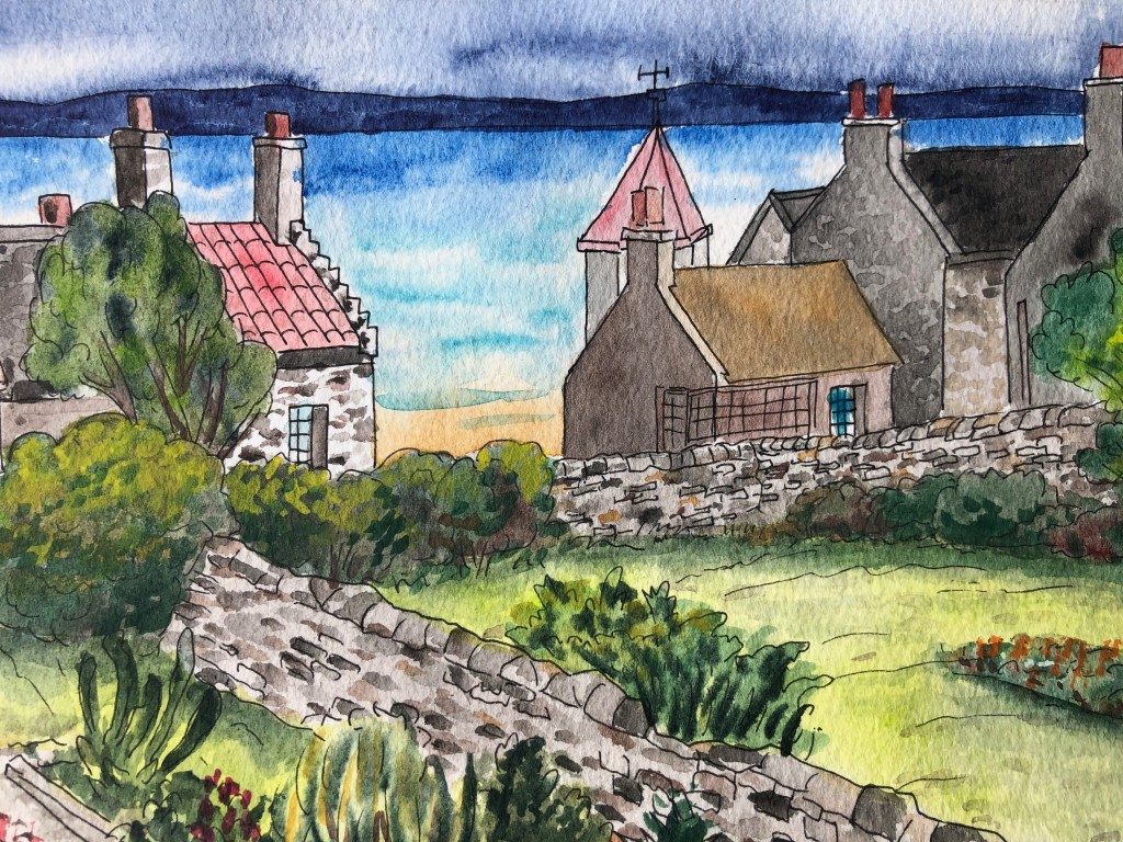 Close-up of watercolor of Elie village in Scotland with water in the background.