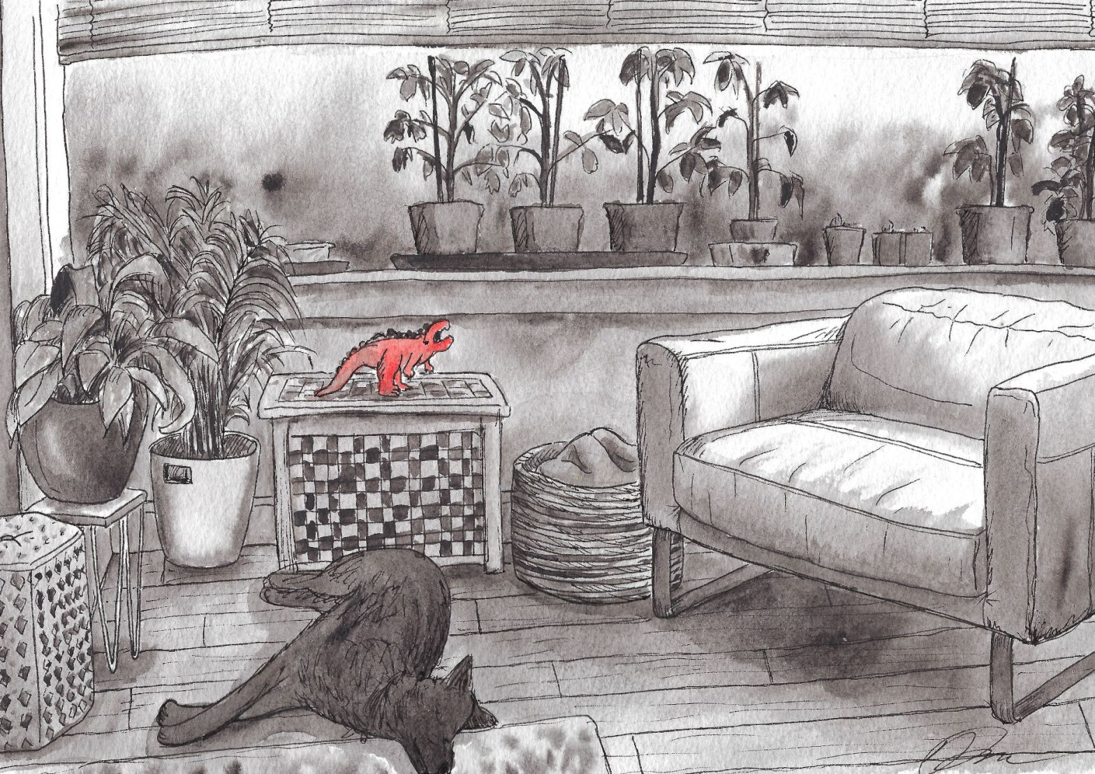 Illustration of living room with tomato plants and dog lying on the floor.