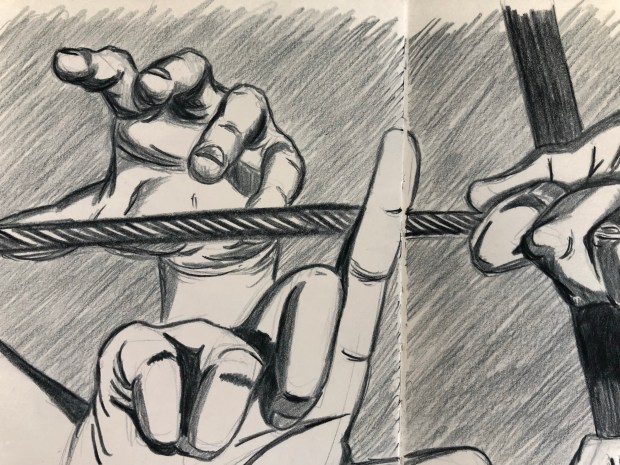 Close up drawing of hands in various poses.