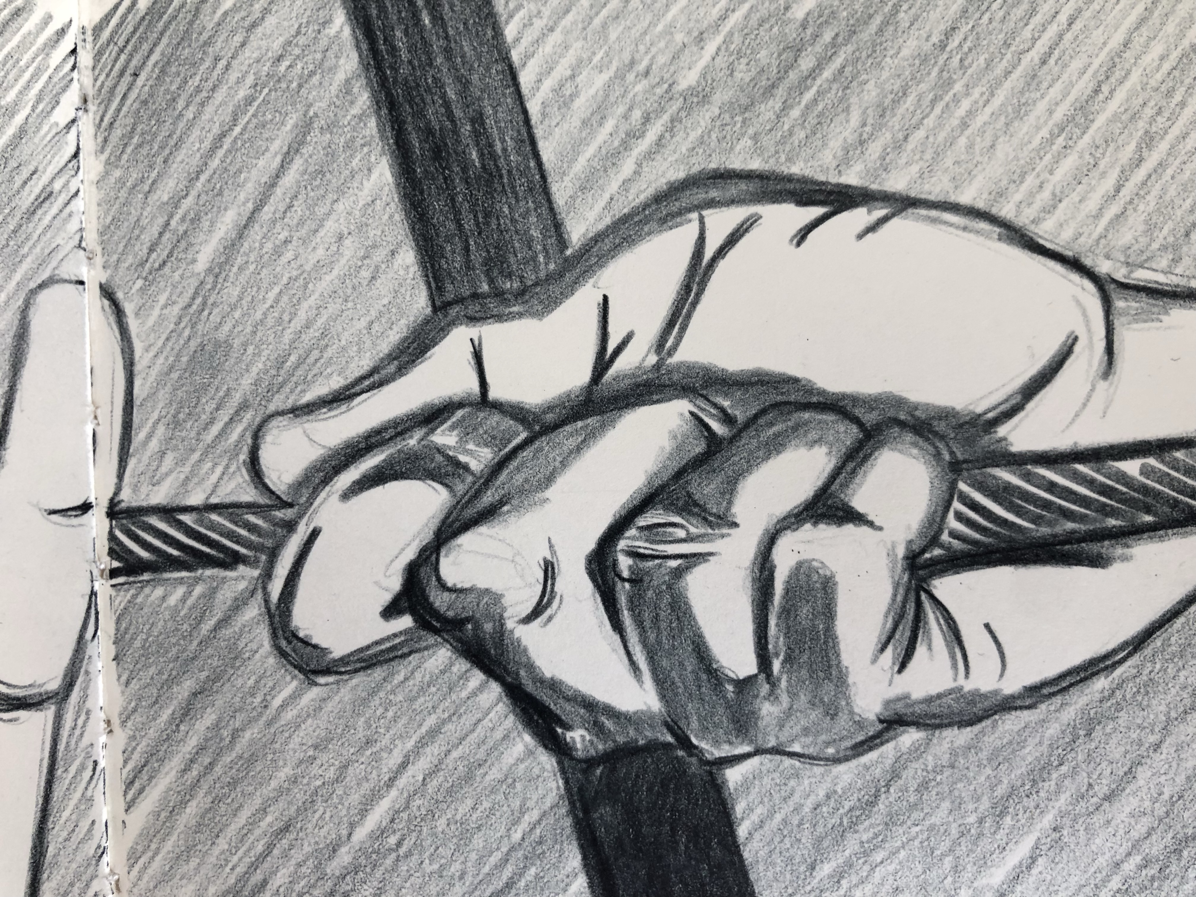 Drawing of a hand grabbing a rope.