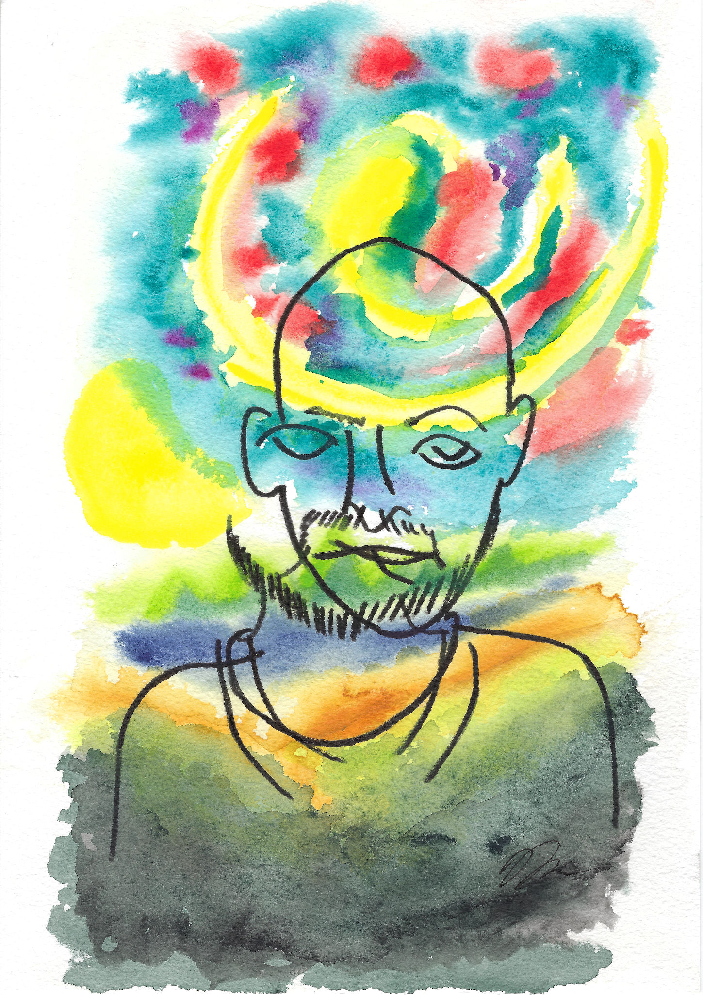 Watercolor painting and contour line drawing self portrait.