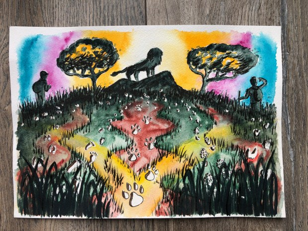 Watercolor painting of a lion silhouette and tracks on the ground.