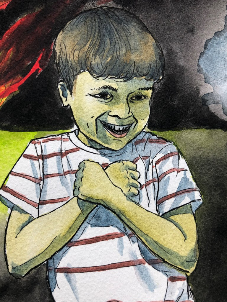 Close-up of watercolor painting of a boy in front a burning house.