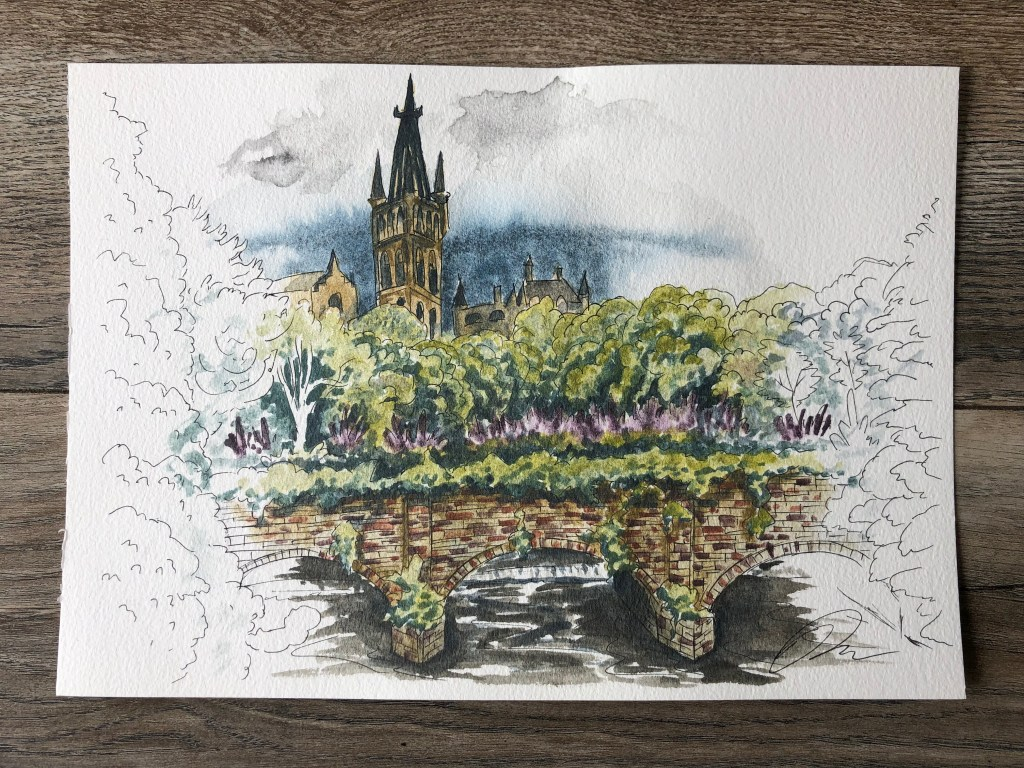 Watercolor painting of Partick bridge over the River Kelvin in Glasgow.
