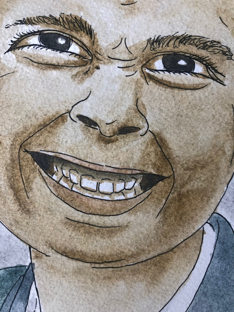 Close-up of watercolor portrait of Sam.