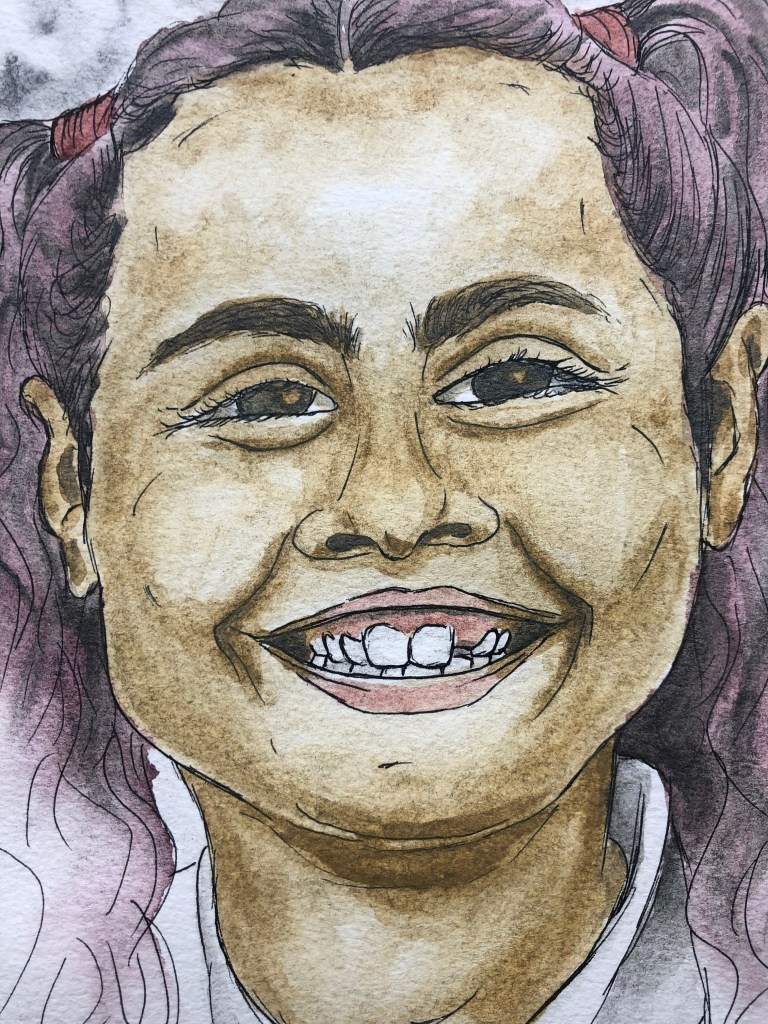 Close up of watercolor portrait of Vivian on the first day of school.