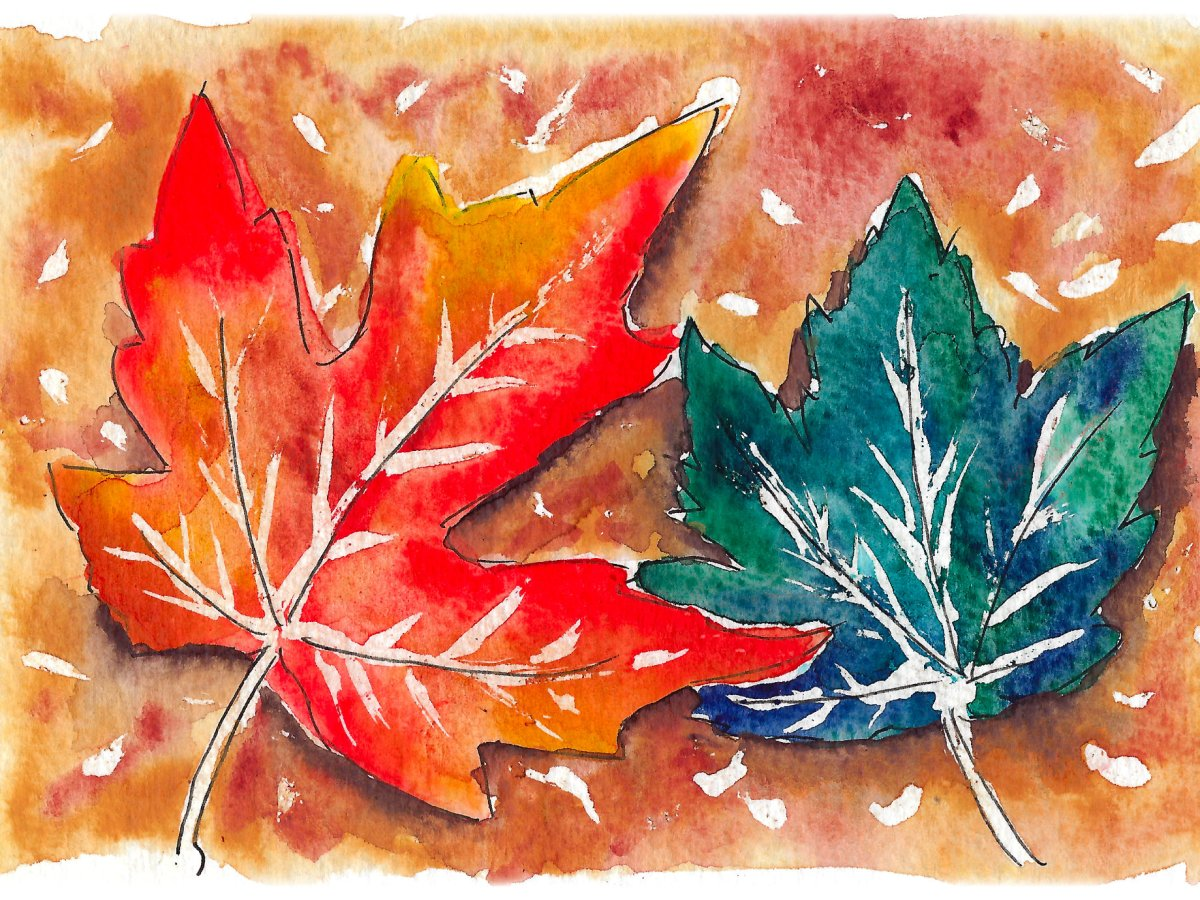 Watercolor painting of fall leaves.