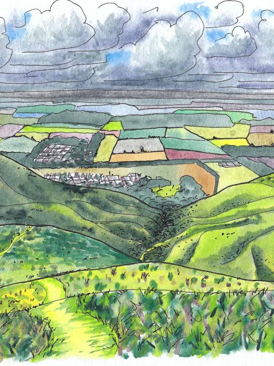 Watercolor painting of the Ochil Hills.