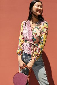 Anthropologie Floral Patch Work Top