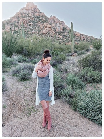 Petite Fashion Blogger Five Foot Feminine in Silent D Kitten-Heeled Riding Boots
