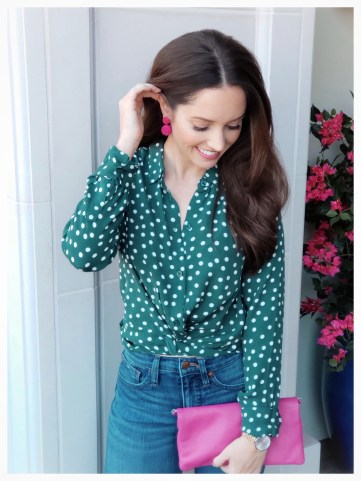 Petite Fashion Blogger Five Foot Feminine in Abercrombie Knot Front Blouse