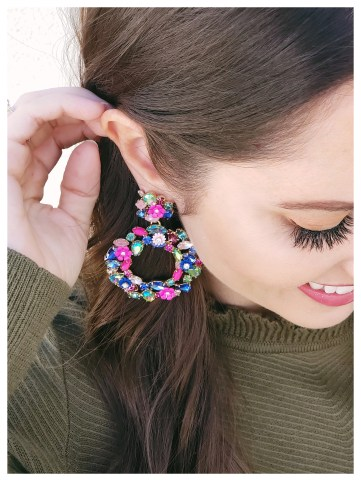 Five Foot Feminine in JCrew Colorful Floral Earrings