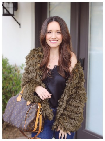 She+Sky Layered Faux Fur Jacket on Five Foot Feminine