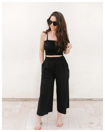 Five Foot Feminine in AE Outfitters Wide Leg Smocked Pant