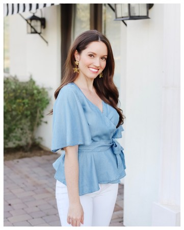 Five Foot Feminine in LOFT Chambray Wrap Top