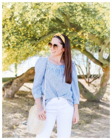 Universal Thread Blue and White Stripe Top on FiveFootFeminine