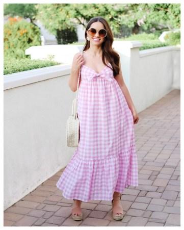 Pink Gingham Dress on Five Foot Feminine