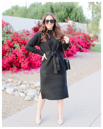 Black Sweater Dress on Five Foot Feminine