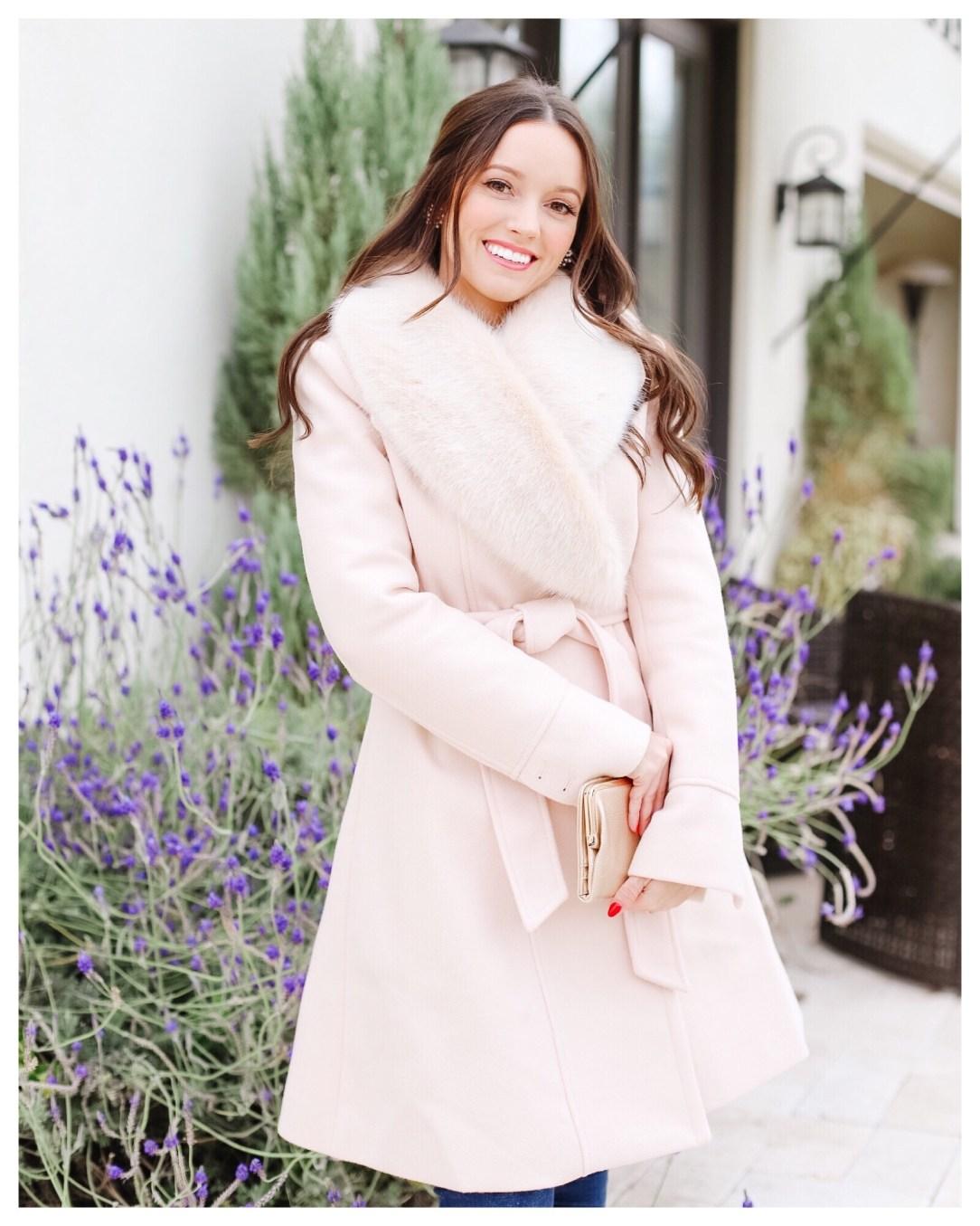 Faux Fur Pink Coat on Five Foot Feminine