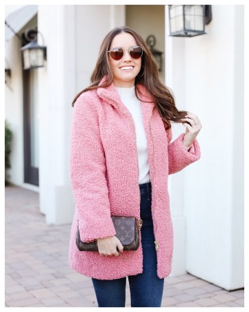 Pink Sherpa Coat on FiveFootFeminine