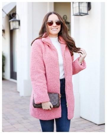 Pink Sherpa Coat on FiveFootFeminine
