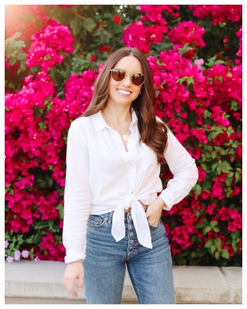 Five Foot Feminine in Madewell White Tie-Top