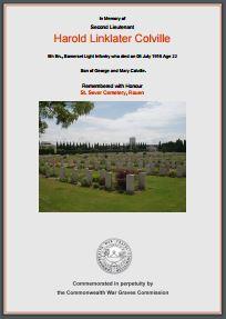 Lt Harold Linklater Colville War Memorial