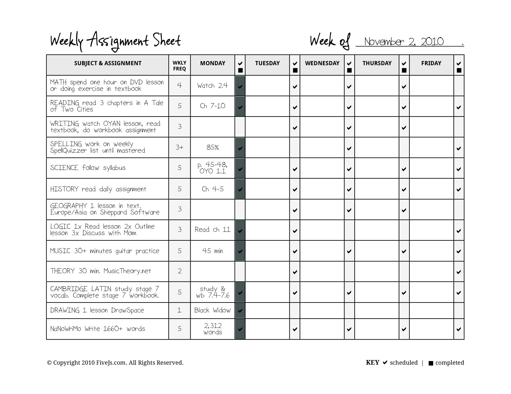 Homeschool Weekly Assignment Planner