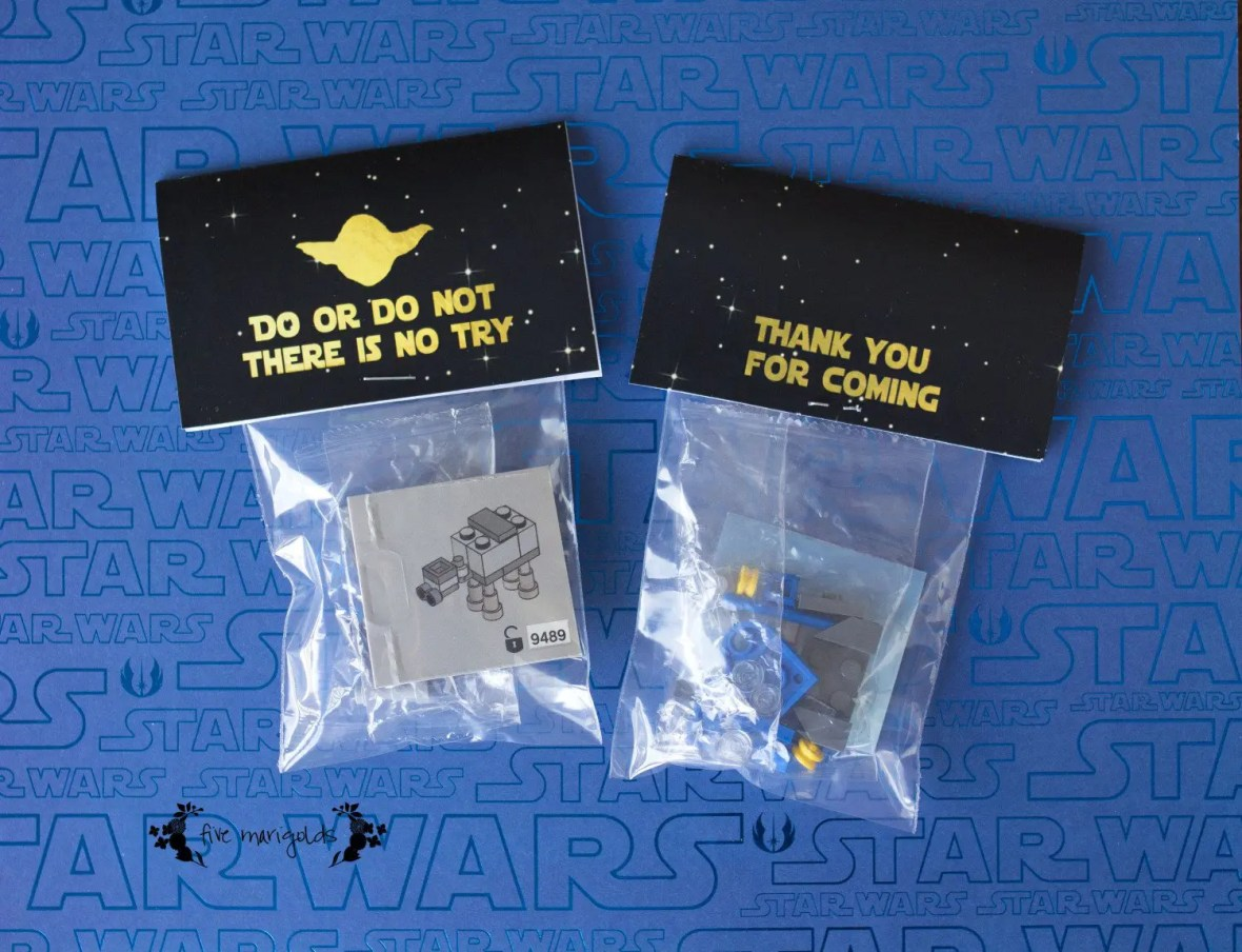 Star Wars Lego Advent Calencar Birthday Party Favors with Printable Tags| www.fivemarigolds.com