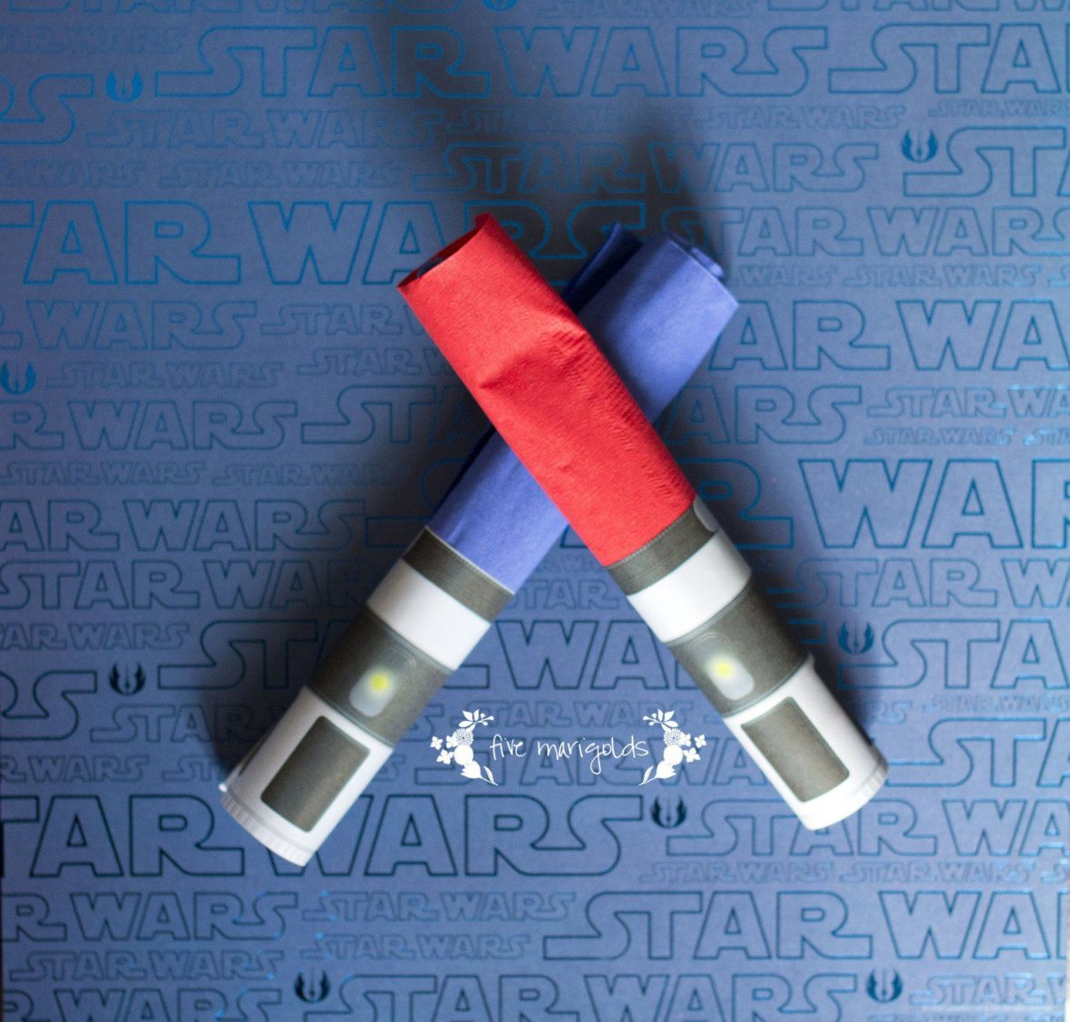Star Wars Birthday Party Boba Fett Buffet Light Saber Napkin Rings | www.fivemarigolds.com