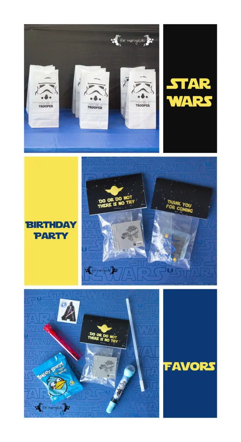 Star Wars Lego Birthday Party Favor Bags | www.fivemarigolds.com