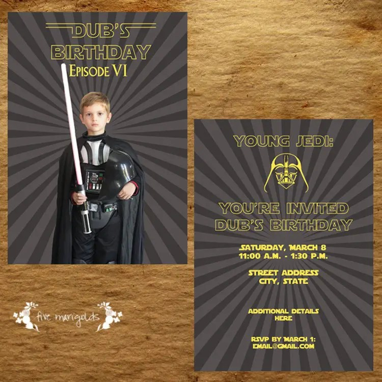 Custom Star Wars Birthday Party Darth Vader Invitation | www.fivemarigolds.com