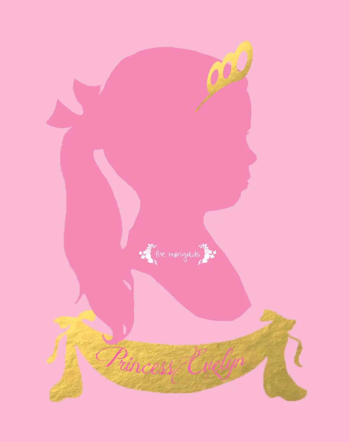 DIY Birthday Princess Silhouette Tutorial | www.fivemarigolds.com