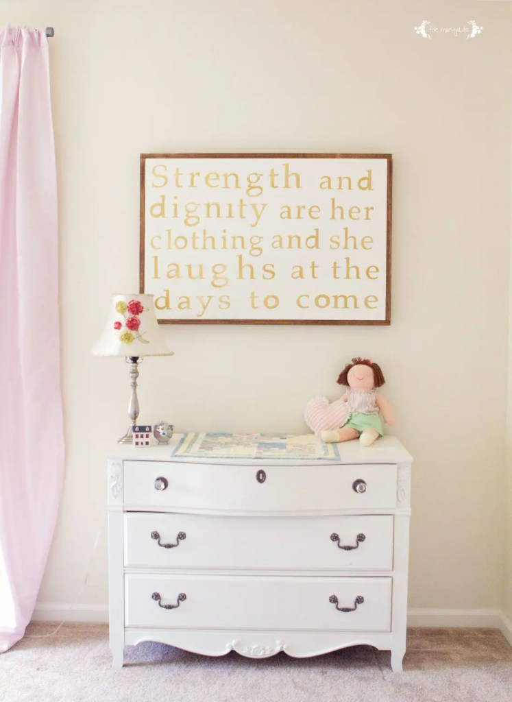 Proverbs 31 Canvas Art using clear contact paper and Silhouette SD. Stain is Minwax Early American. | Five Marigolds