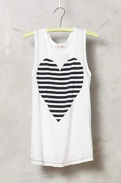 Copycat Chic: Anthropologie Striped Heart Tank for less than $5 | Five Marigolds