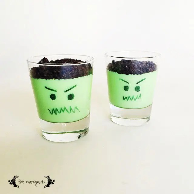 Halloween Treat Round-up: Frankenstein Halloween Pudding | Five Marigolds