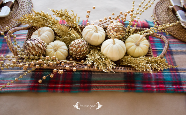 3Casual Fall Thanksgiving Tablescape with Plaid, Butcher Paper and Sequins | Five Marigolds